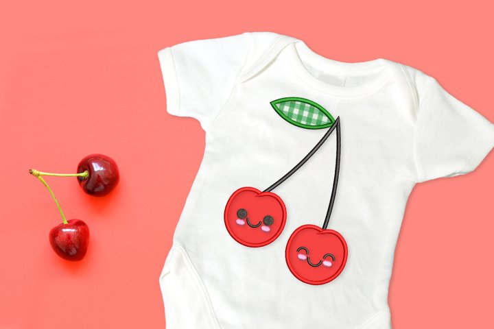 Cartoon Cherries Applique Embroidery