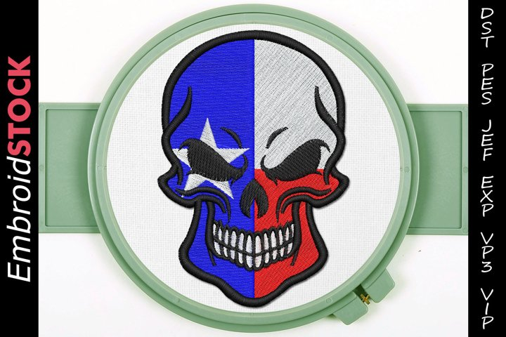 Texas Punisher Skull Embroidery Design