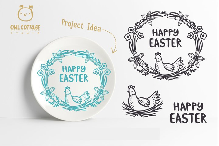 Easter Wreath with Hen svg, Easter Floral Monogram, Easter example 10
