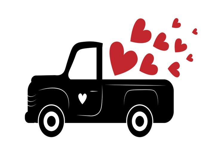 Valentine truck SVG, Valentine svg, Valentine red truck Svg,