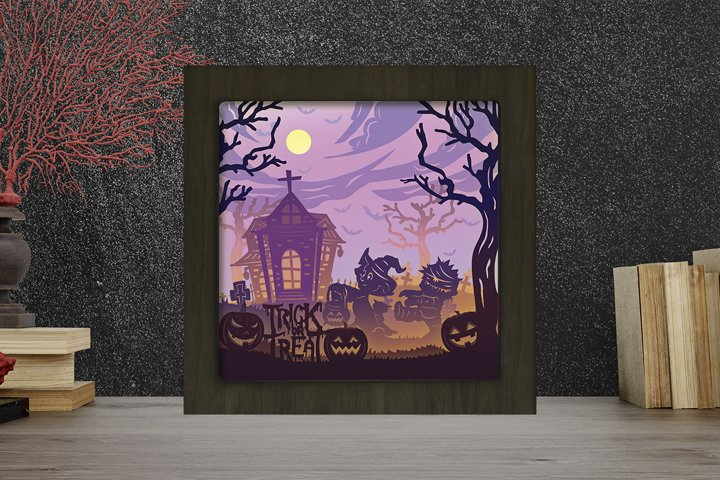 Halloween 12 3D Paper Cut Light Box - Shadow box