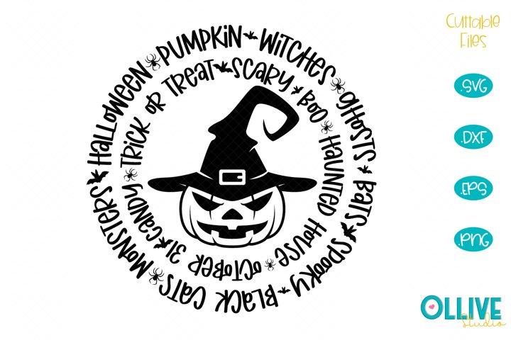 Halloween Word Art Pumpkin SVG