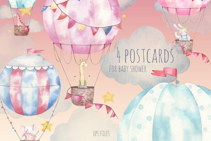 Set of postcards for baby shower EPS