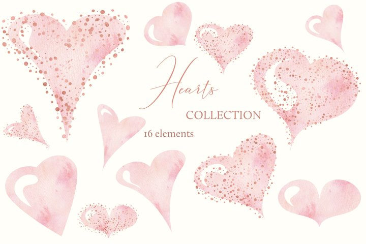 Heart Clipart, Valentine Clipart, Watercolor Heart Clipart