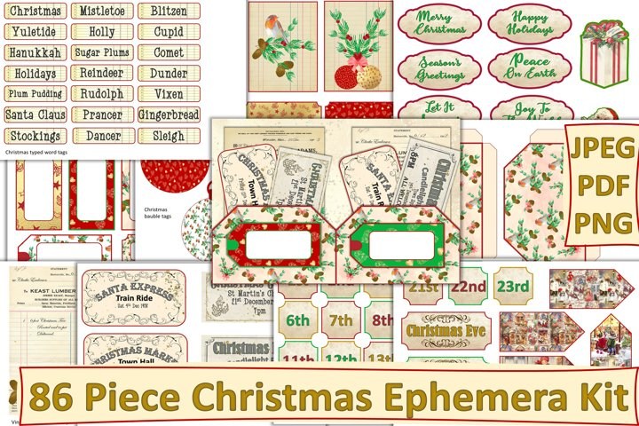 Christmas Journal Ephemera Kit with FREE backgrounds