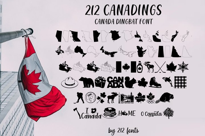 212 Canadings Canada Dingbat Solid and Outline Font