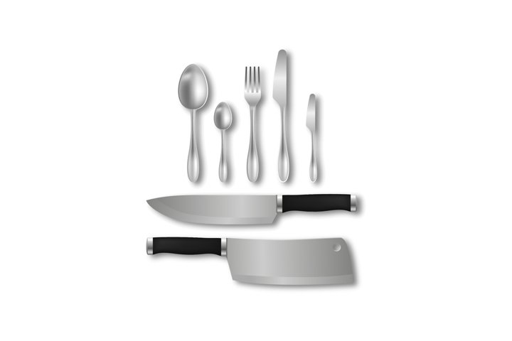 Cutlery realistic utensil set vector silver spoon fork knife