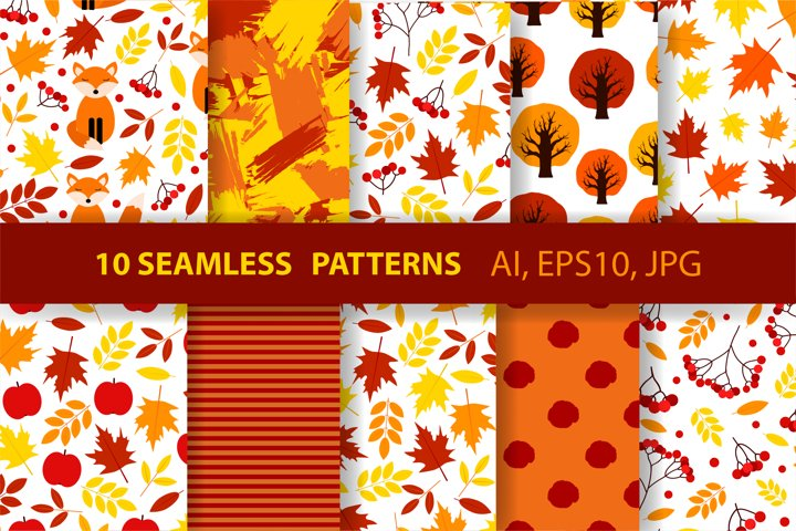 10 autumn seamless patterns. Fall colorful backgrounds.