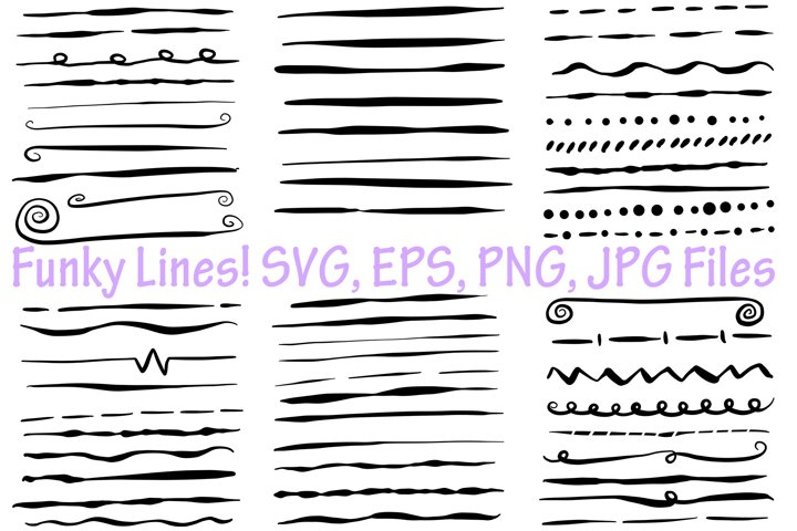 65 Black Funky Lines Illustration Collection