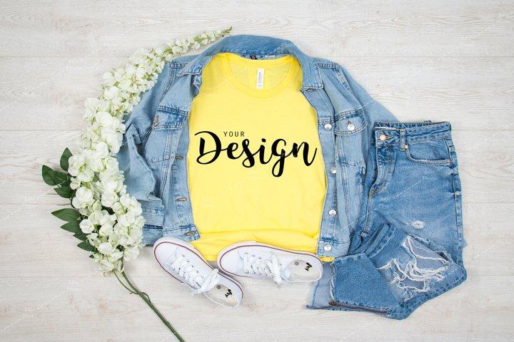 Bella Canvas 3001 Yellow T-shirt Mockup for Summer