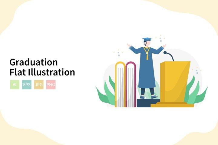 Graduation Flat Vector Illustration