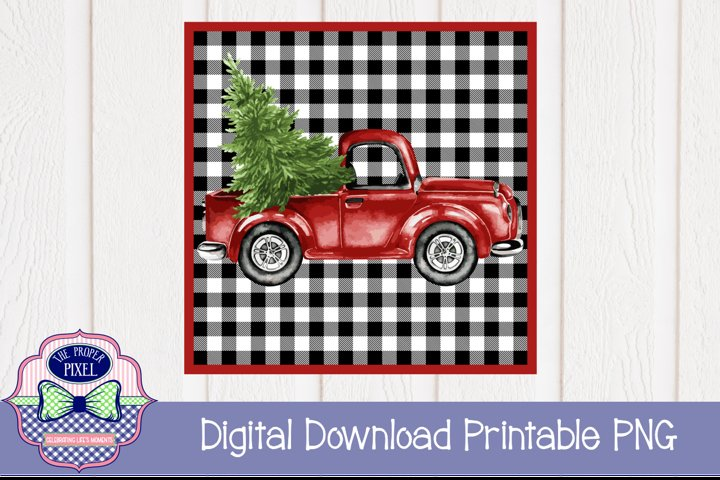 Red Truck with Christmas Tree Sublimation Printable