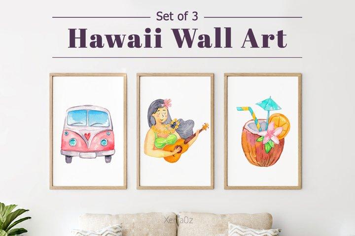 Set of 3 Watercolor Hawaiian Prints, Tropical Wall Decor