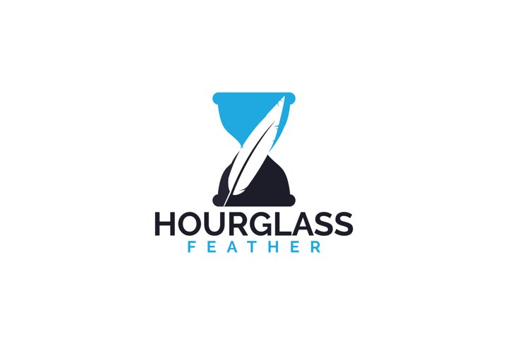 Hourglass feather logo design.