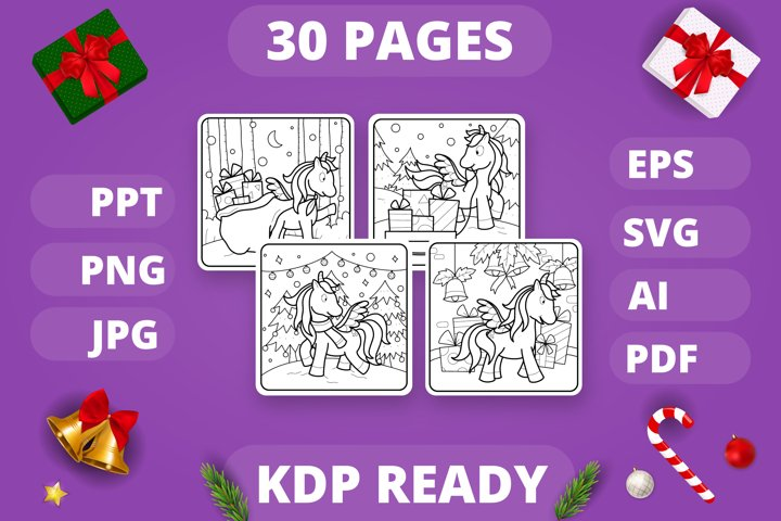 KDP Unicorns Christmas Coloring Book for Kids - 30 Pages