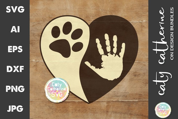 Love Heart with Hand and Pet Dog Paw Print SVG Cut File