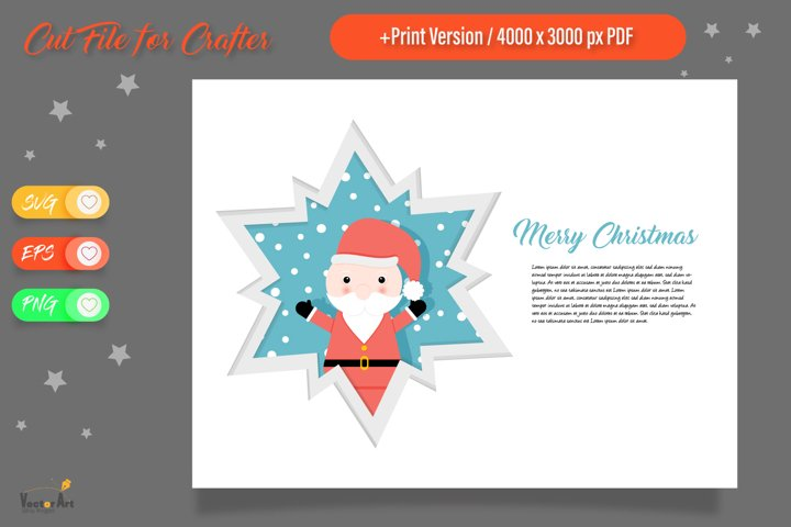 Christmas Star Paper Cut - Santa Claus