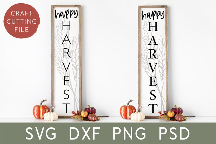 Fall Porch Sign Svg | Happy Harvest Svg | Vertical Sign Svg