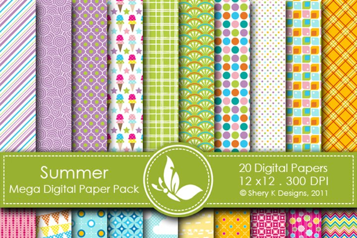 Summer Mega Paper Pack - 20 Printable Digital scrapbooking papers - 12 x12 - 300 DPI