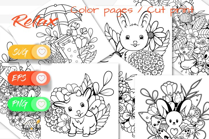 7x Easter and Spring - Mini Bundle - SVG and Coloring Page