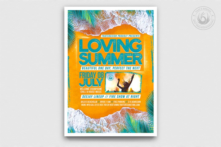 Beach Party Flyer Template V9