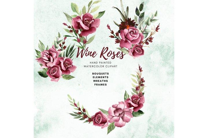 Wine Rose Watercolor Clipart, Printable watercolor Art