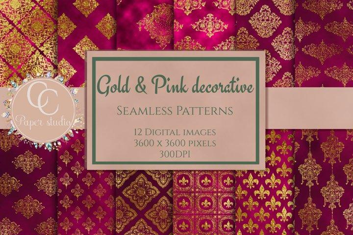Digital paper - Pink & Gold damask