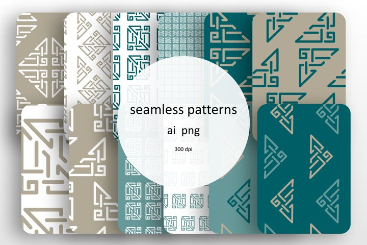 Set of 12 seamless patterns with geometrical design