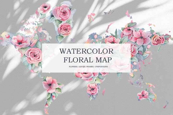 Watercolor Floral map, Spring pink flowers clipart, peony