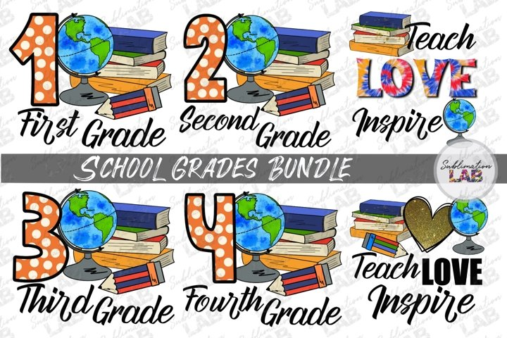School Grades Bundle Sublimation Design Teach Love Inspire