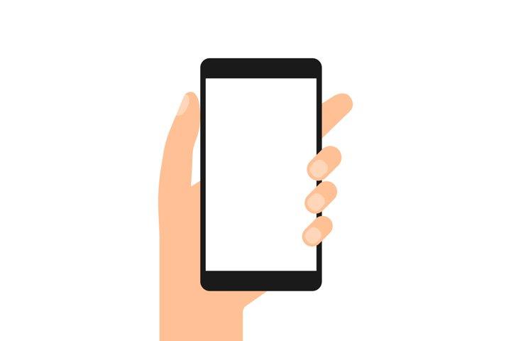 Hand holding smartphone. Telephone Blank white screen