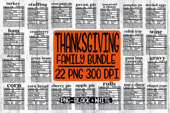 Thanksgiving Bundle - Family Food - 22 Designs - PNG 300 DPI