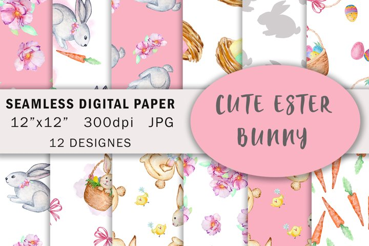 Watercolor Cute Bunny Seamless Paper Pattern