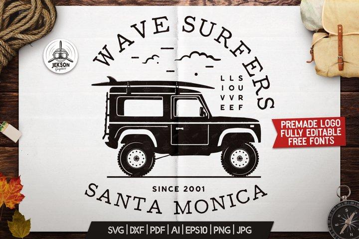 Surfers Adventure Badge Vintage Summer Surf Logo SVG File