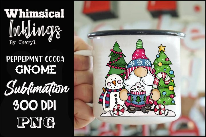Peppermint Cocoa Gnome Sublimation Clipart example