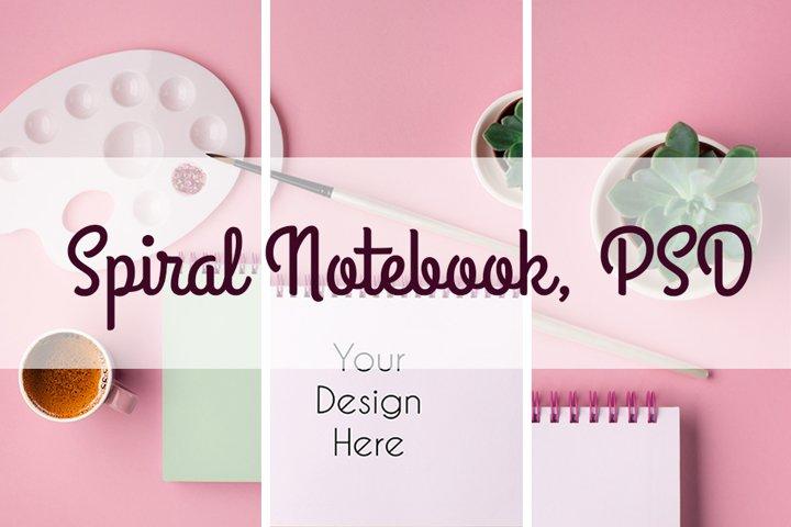Spiral Notebook Mockup #1, PSD