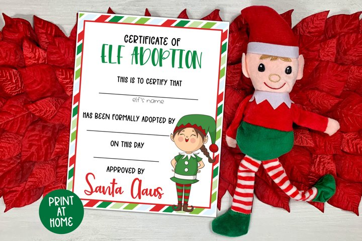 Elf Adoption Certificate for Girls - Christmas Printable