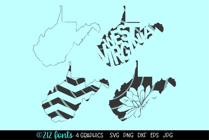 4 - West Virginia State Map Graphic Cut File DXF PNG JPG SVG
