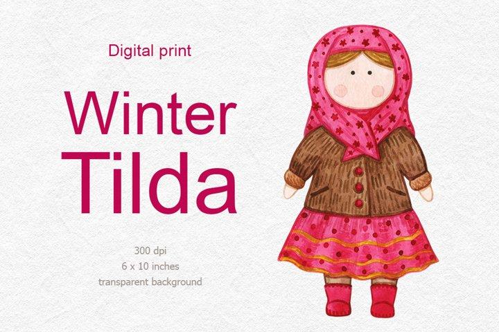 Christmas Tilda doll clipart