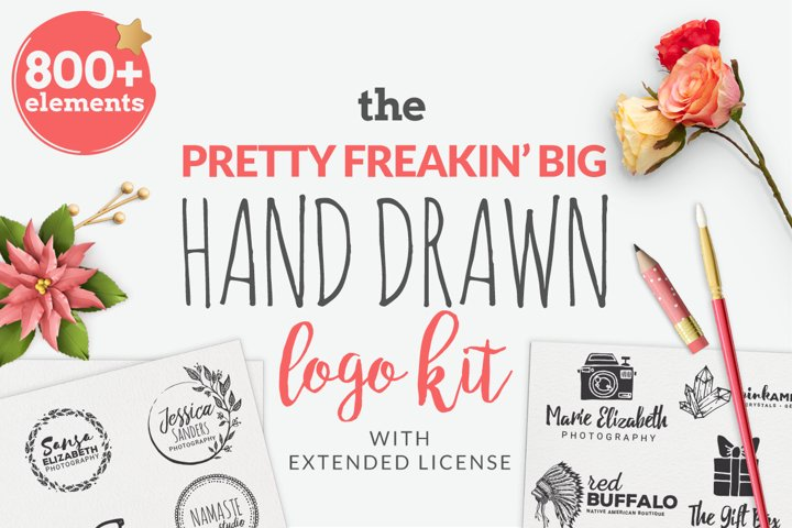 The Pretty Freakin Big Hand Drawn Logo Design Kit