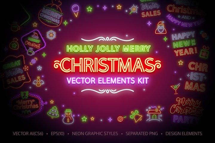 Christmas Neon Signs Set