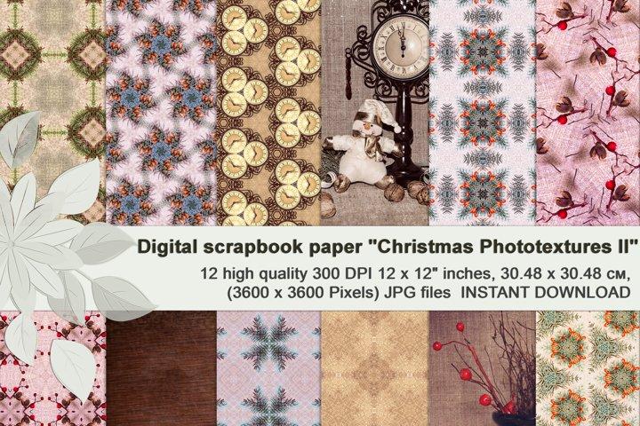 Beige vintage Christmas photographic textures, Digital paper