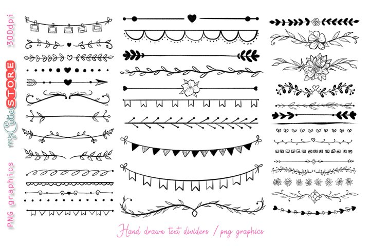 Hand drawn text dividers floral and arrows
