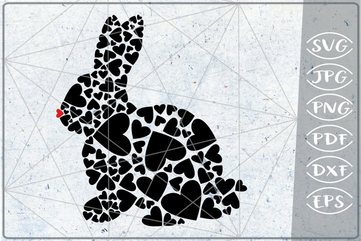 Bunny Red Hearts Print in Heart SVG Cutting File Love Craft