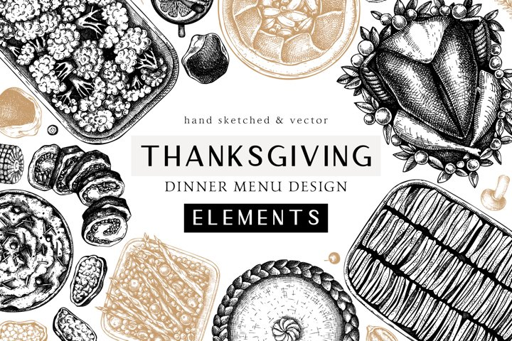 Thanksgiving Day Food Illustrations