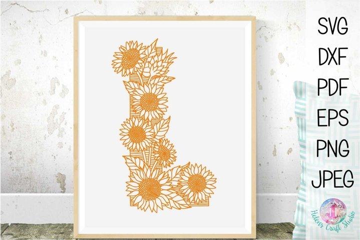 Floral Sunflower Letter L