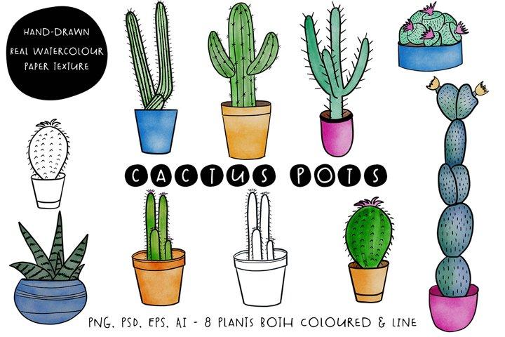 Watercolour Cactus Pots