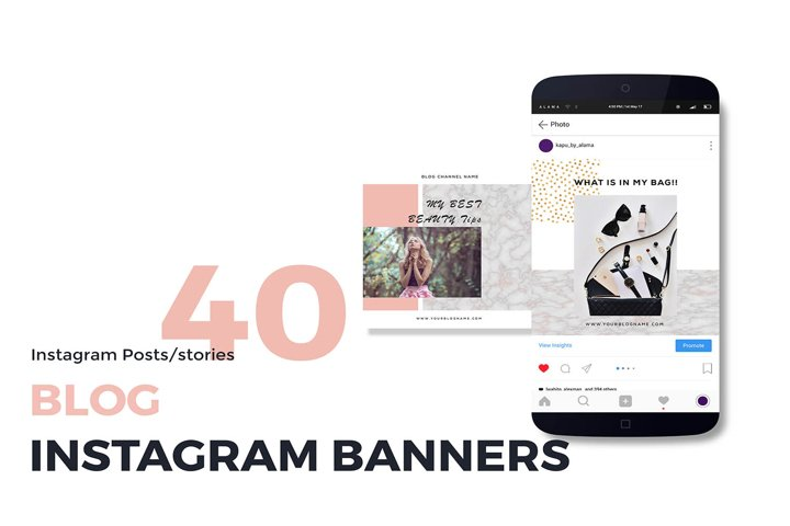 40 Blog Instagram posts and stories templates
