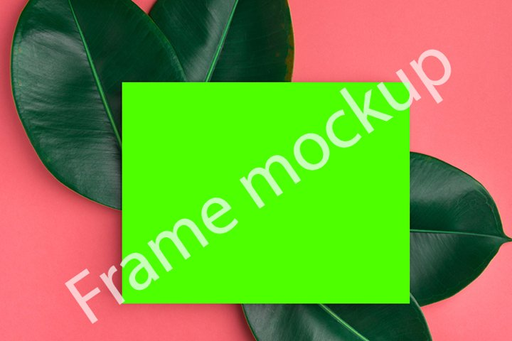 Frame mockup tropical green leaves neon template on pink