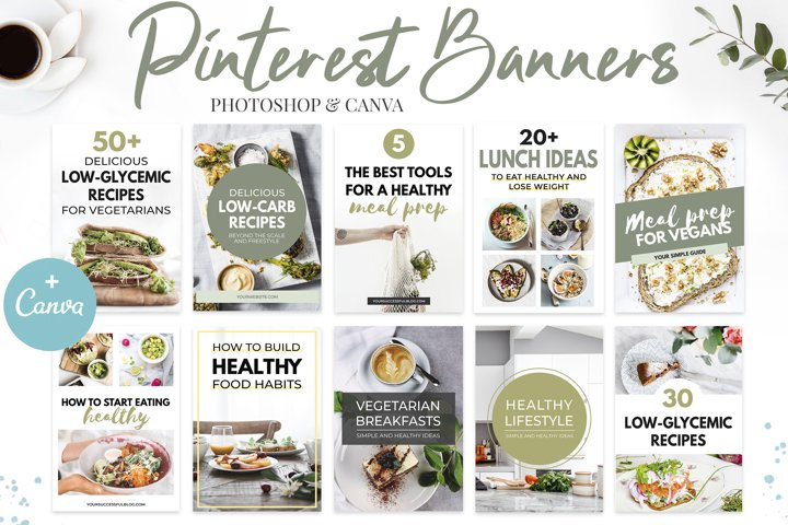 Canva Pinterest Templates in Green